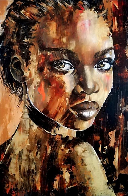 Zeca - Lady in Gold (120 x 80 cm) - Sold